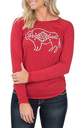 Rock & Roll Cowgirl Women's Long Sleeve Red Buffalo Shirt