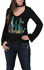 Rock & Roll Cowgirl Women's Black with Cactus & Desert Print Choker Long Sleeve Casual Knit Tee