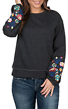 Rock & Roll Cowgirl Women's Terry Charcoal Floral Sleeve Pullover Casual Knit Shirt