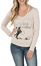 Rock & Roll Cowgirl Women's Western Rider Graphic long Sleeve T-Shirt