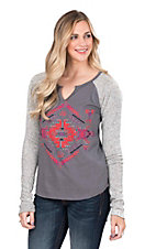 Rock & Roll Cowgirl Women's Charcoal with Aztec Screen Print and Long Knit Sleeves Casual Knit Top