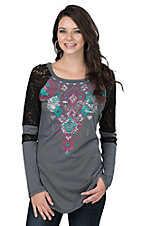 Rock & Roll Cowgirl Women's Grey with Graphic Aztec Screen Print and Black Lace Long Sleeve Casual Knit Top
