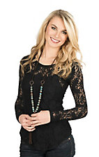 Rock & Roll Cowgirl Women's Black Lace Long Sleeve Layering Casual Knit Shirt