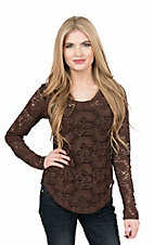 Rock & Roll Cowgirl Women's Brown Lace Long Sleeve Layering Casual Knit Shirt