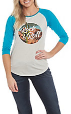Rock & Roll Cowgirl Women's Blue and White Raglan Casual Knit