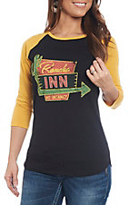 Rock & Roll Cowgirl Women's Black and Gold Cactus Rancho Inn Raglan Casual Knit