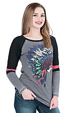 Rock & Roll Cowgirl Women's Grey with Chief Screen Print on Front Long Black Sleeve Casual Knit Shirt