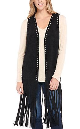 Rockin' C Women's Black Studded Fringe Vest