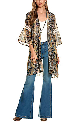 Grace and Emma Blue and Black Snakeskin Print Duster