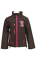 Cowgirl Hardware Girl's Brown with Pink Horse Cowgirl Ranch Logo Long Sleeve Bonded Jacket