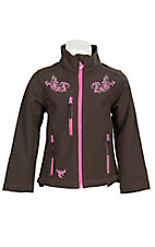 Cowgirl Hardware Girl's Brown with Pink Scroll Embroidery & Rhinestones Long Sleeve Bonded Jacket