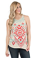 Rock & Roll Cowgirl Women's Cream with Allover Aztec Print Sleeveless Casual Knit Top