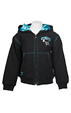 Cowgirl Hardware Girls' Black Cowgirl Horse Canvas Hooded Jacket