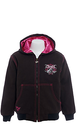 Cowgirl Hardware Girls' Brown Riding In Style Canvas Hooded Jacket