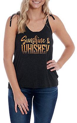 Rock & Roll Cowgirl Women's Charcoal Sunshine & Whiskey Tank