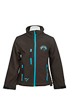 Cowgirl Hardware Girl's Brown with Turquoise Embroidered American Cowgirl Long Sleeve Bonded Jacket