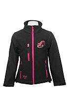 Cowgirl Hardware Girl's Black with Pink Embroidered Horse Long Sleeve Bonded Jacket