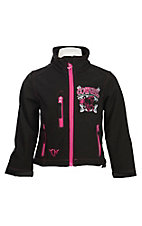 Cowgirl Hardware Girl's Black with Pink Embroidered Cowgirl Horse Long Sleeve Jacket