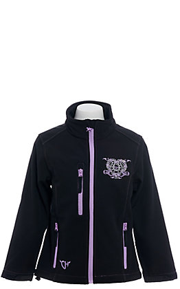 Cowgirl Hardware Girl's Black and Purple Wild & Free Soft Shell Jacket
