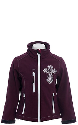 Cowgirl Hardware Girls' Burgundy Steel Cross Soft Shell Jacket