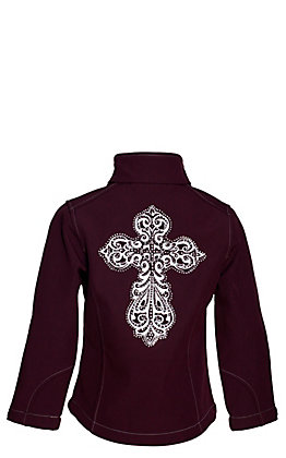 Cowgirl Hardware Girls' Maroon with White Steel Cross Soft Shell Jacket