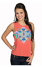Rock & Roll Cowgirl Women's Coral with Multi Aztec Sleeveless Burnout Casual Knit Tank Top