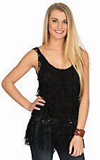Rock and Roll Cowgirl Women's Black Crochet Fashion Tank Top