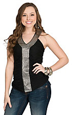 Rock and Roll Cowgirl Women's Solid Ruched Tank with Sequins