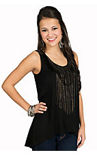Rock and Roll Cowgirl Women's Black Knit Tank with Chain Fringe