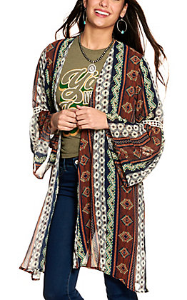 Grace & Emma Women's Rust and Navy Aztec Print Long Bell Sleeve Kimono
