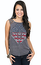 Rock & Roll Cowgirl Women's Grey Knit Americana Embellished Tank