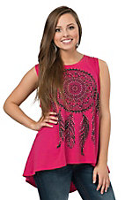 Rock & Roll Cowgirl Women's Pink Dream Catcher Print & Fringe Tank