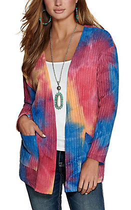 Grace & Emma Women's Pink, Blue and Yellow Tie Dye Ribbed Knit Cardigan