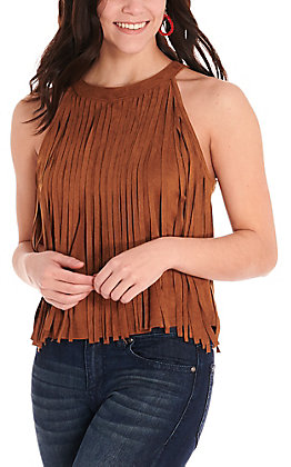 Rock & Roll Cowgirl Women's Camel Brown Faux Suede High Neck Fringe Fashion Tank Top