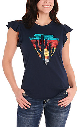 Rock & Roll Cowgirl Women's Navy with Cactus Arrowhead Graphic Ruffle Sleeve Casual Knit Top