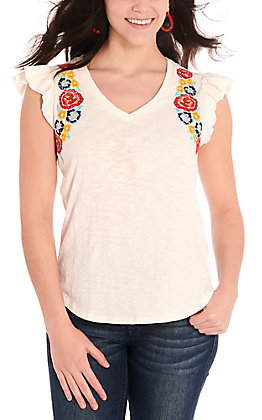 Rock & Roll Cowgirl Women's Ivory with Multi-Colored Floral Embroidery Ruffle Sleeve Casual Knit Top