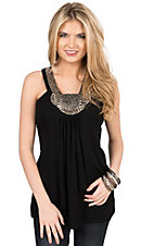 Rock & Roll Cowgirl Women's Black with Silver Beaded Neckline Sleeveless Knit Fashion Top