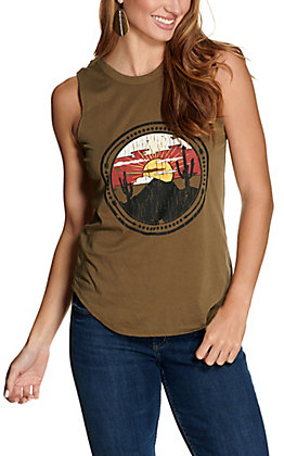 Rock & Roll Cowgirl Women's Olive with Sunset Desert Graphic and V-Back Sleeveless Tank Top