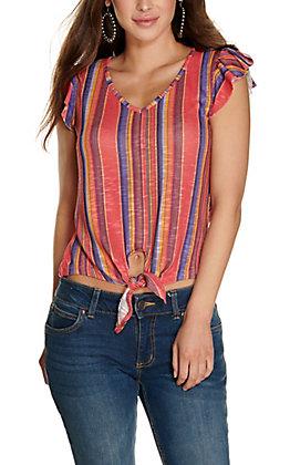 Rock & Roll Cowgirl Women's Serape Stripe Tie Front Ruffle Short Sleeves Fashion Top