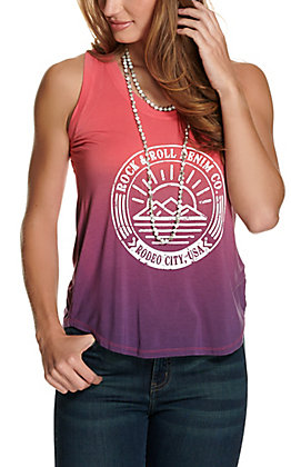 Rock & Roll Cowgirl Women's Pink and Purple Tie Dye Desert Logo Tank Top