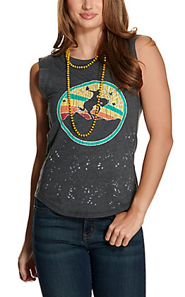 Rock & Roll Cowgirl Women's Grey Horse Rider Graphic Tank Top