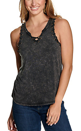 Rock & Roll Cowgirl Women's Washed Black with Lacing and Grommets V-Neck Sleeveless Tank Top