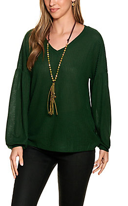 Grace & Emma Women's Forest Green Waffle Knit Long Sleeve Top