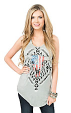 Rock & Roll Cowgirl Women's Grey Steer Racer Back Casual Knit Tank Top