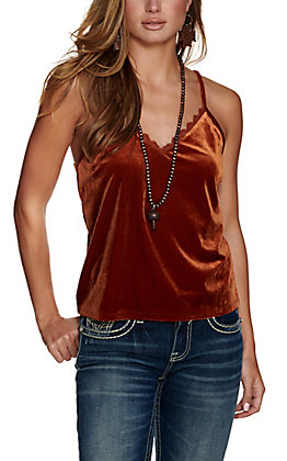 Rock & Roll Cowgirl Women's Rust Velvet with Lace Cami Tank Top