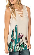 Rock and Roll Cowgirl Women's Ivory Cactus Graphic Tank Fashion Shirt