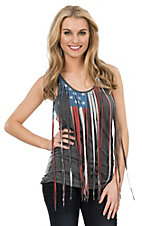 Rock & Roll Cowgirl Women's Grey with American Flag Fringe Sleeveless Casual Knit Top