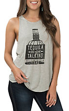 Rock & Roll Cowgirl Women's Grey Tequila Bottle Tank Top
