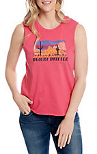 Rock and Roll Cowgirl Women's Hot Pink Desert Drifter Graphic Muscle Tank