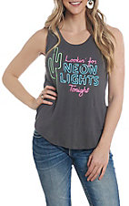 Rock & Roll Cowgirl Women's Neon Lights Graphic Tank Top